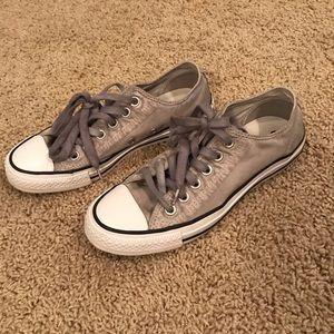 Gray Satin-Like Converse Shoes